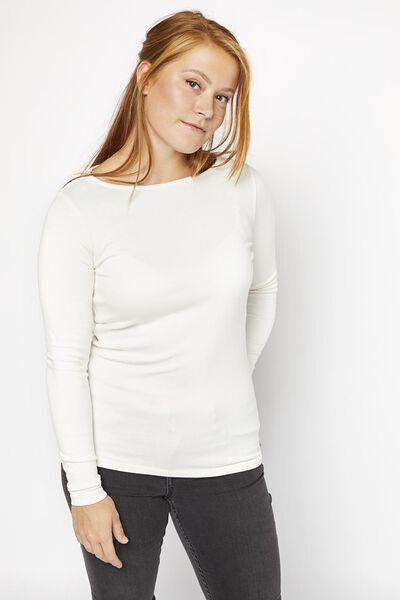 dames t-shirt boothals gebroken wit S - 36359857 - HEMA