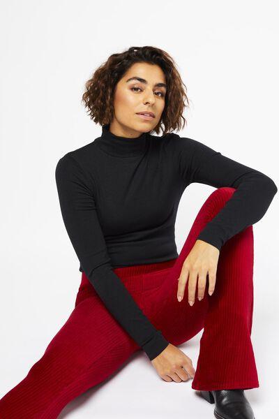 dames t-shirt col zwart - 1000021683 - HEMA