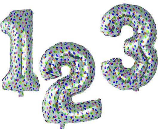 folieballon XL cijfers 0-9 confetti zilver zilver - 1000020810 - HEMA