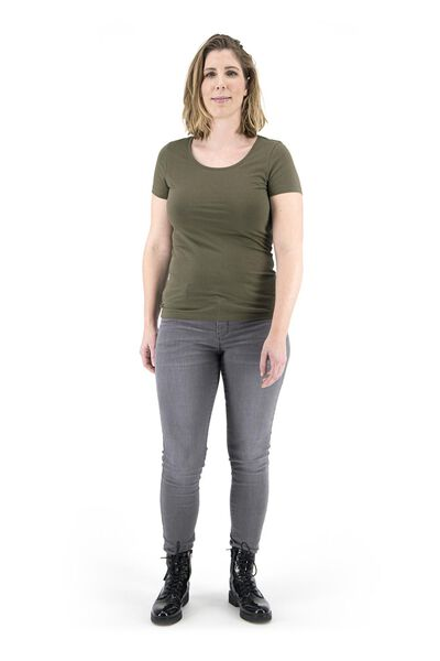 dames t-shirt olijf S - 36347611 - HEMA