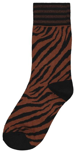 damessokken zebra glitter bruin 39/42 - 4250147 - HEMA