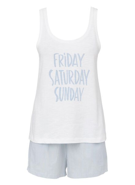 dames pyjama katoen lichtblauw lichtblauw - 1000013147 - HEMA