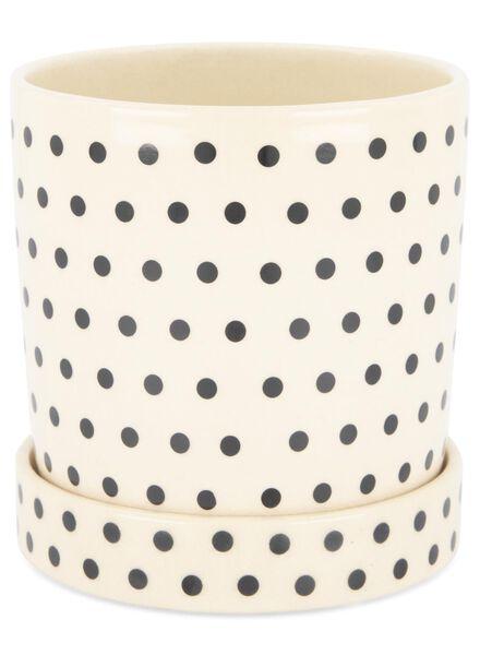 bloempot - 13.5 x Ø 13.5 cm - zwart/wit keramiek stip - 13392075 - HEMA