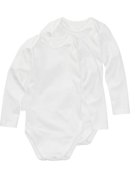 romper organic katoen stretch - 2 stuks wit wit - 1000005204 - HEMA