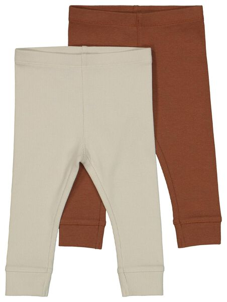 babylegging rib - 2 stuks bruin bruin - 1000022010 - HEMA