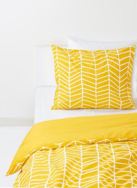 dekbedovertrek - zacht katoen - 140 x 200 cm - geel print - 5750004 - HEMA