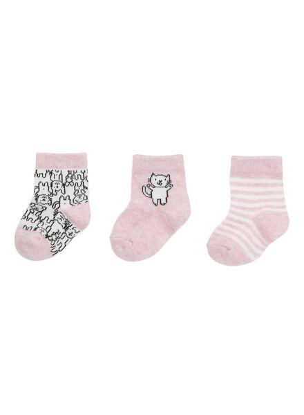 3-pak baby sokken roze roze - 1000002143 - HEMA