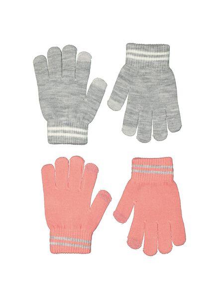2-pak kinderhandschoenen touchscreen roze roze - 1000014512 - HEMA