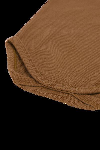 rompers organic katoen stretch rib - 3 stuks bruin bruin - 1000022889 - HEMA