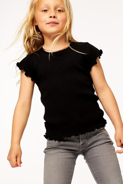 kinder t-shirt rib zwart zwart - 1000024715 - HEMA