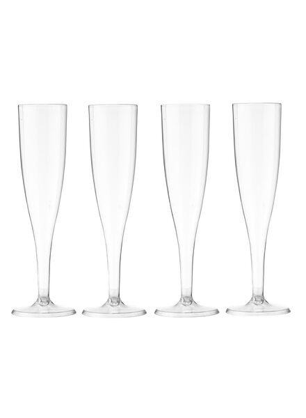 plastic champagne glazen - transparant - 4 stuks - 14259602 - HEMA
