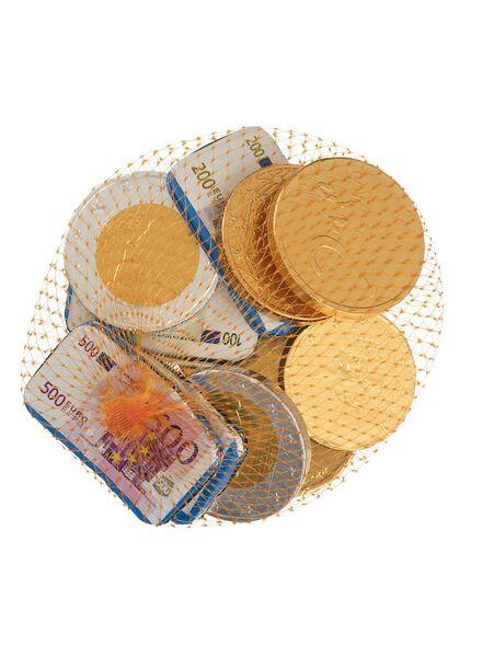 melkchocolade geld in netje - 125 gram - 10040198 - HEMA