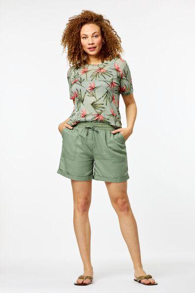 dames t-shirt bloemen linnen lichtgroen - 1000024255 - HEMA