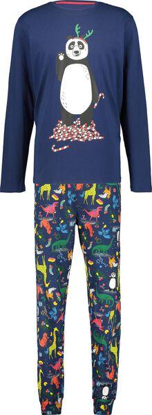 herenpyjama kerst donkerblauw donkerblauw - 1000016981 - HEMA