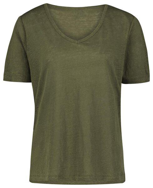 dames t-shirt linnen olijf L - 36252388 - HEMA