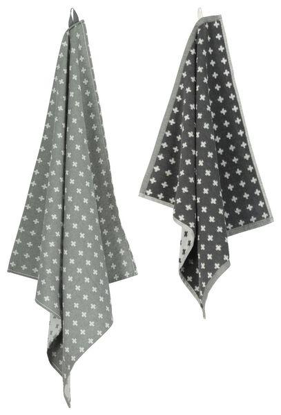 keukendoek - 50 x 50 - katoen - grijs kruisjes - 5400167 - HEMA