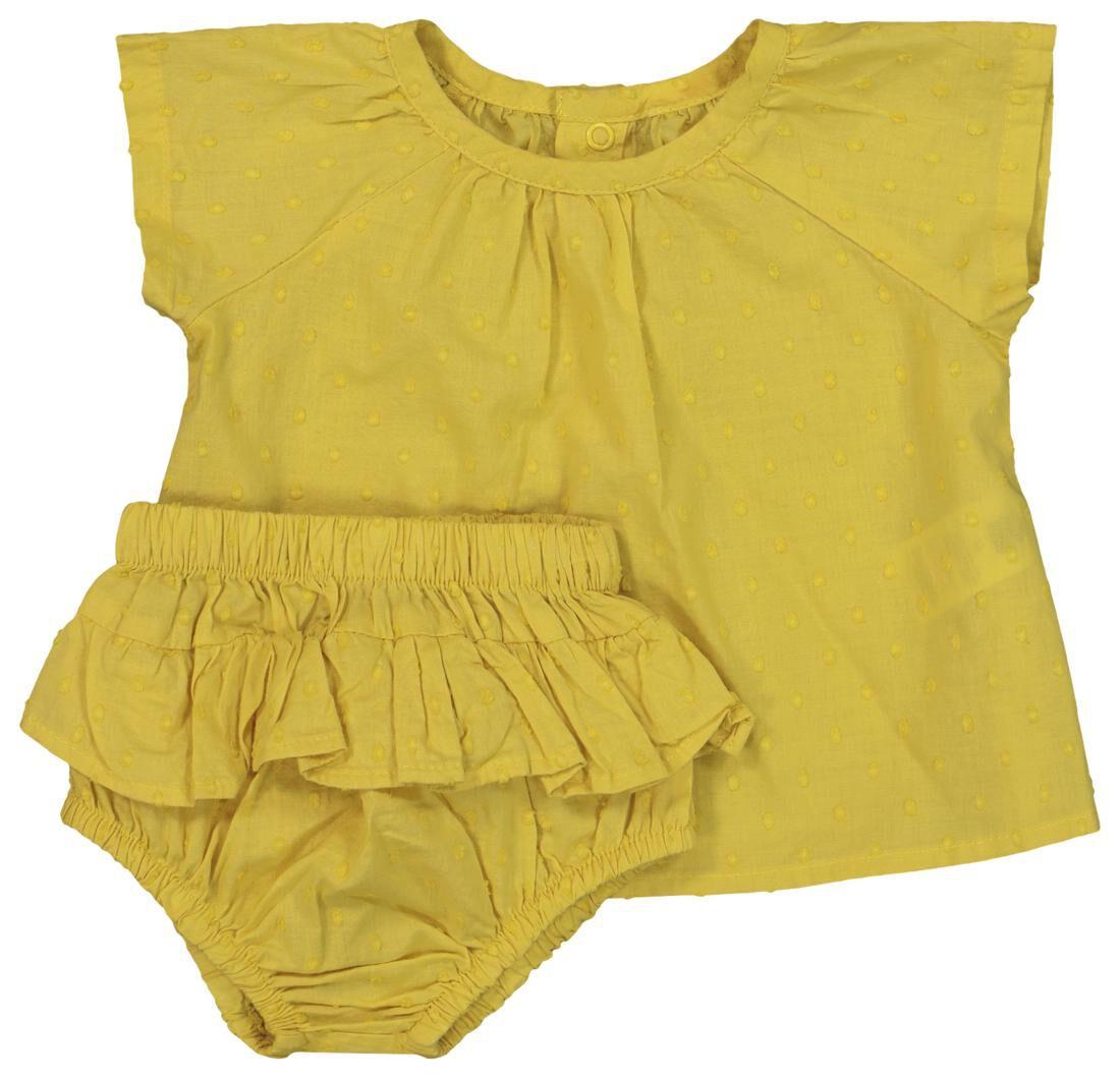 HEMA Newborn Set - Tuniek En Broek - Biologisch Katoen Geel (geel)