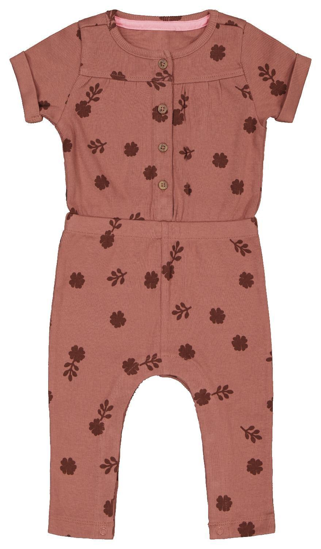 HEMA Baby Jumpsuit Rib Bloem Roze (roze)