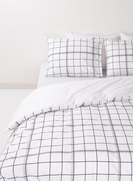 dekbedovertrek - zacht katoen - 140 x 200 cm - wit ruit zwart/wit 140 x 200 - 5750019 - HEMA