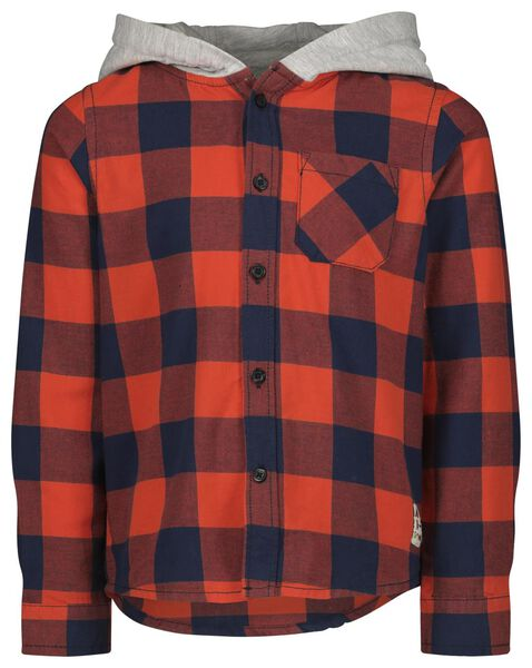 kinderoverhemd met capuchon flanel rood rood - 1000021256 - HEMA
