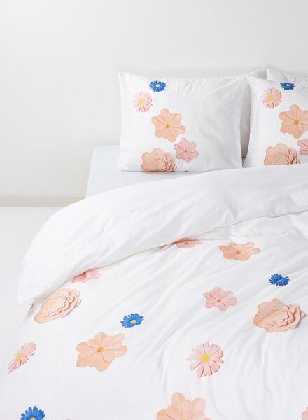 dekbedovertrek - zacht katoen - 200 x 200 cm - wit bloemen - 5700039 - HEMA