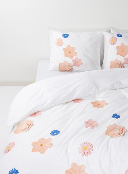 dekbedovertrek - zacht katoen - 140 x 200 cm - multi bloemen - 5710018 - HEMA