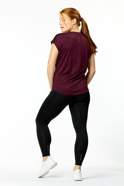 dames sport t-shirt mesh wijnrood L - 36080453 - HEMA