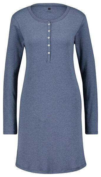 dames nachthemd katoen ribbels blauw S - 23421761 - HEMA