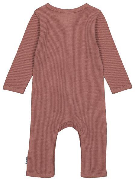 newborn jumpsuit wafel biologisch katoen oudroze 68 - 33411314 - HEMA
