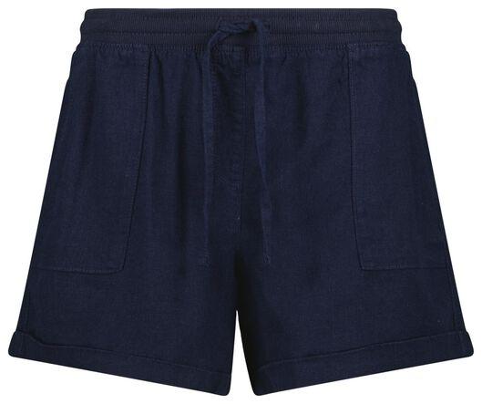 damesshort linnen donkerblauw S - 36289126 - HEMA