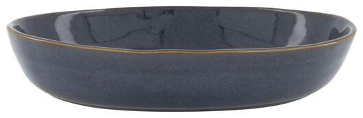 schaal hoog - 30 cm - Porto - reactief glazuur - donkerblauw - 9602225 - HEMA