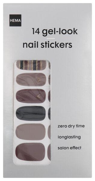 nagelstickers gel look bruin - 14 stuks - 11249052 - HEMA