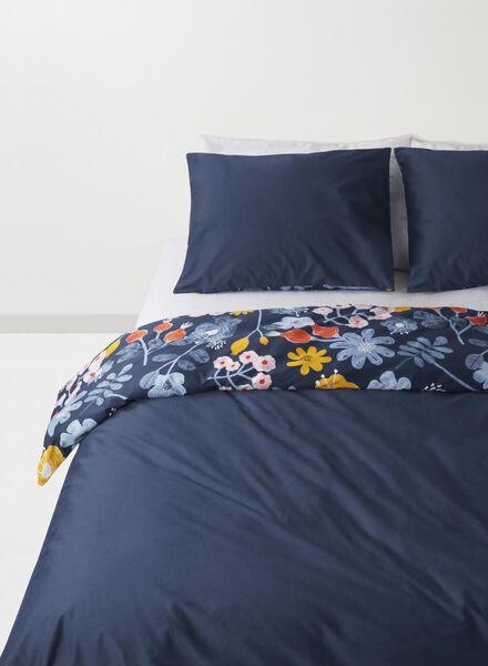 dekbedovertrek - 240 x 220 - hotel katoen satijn - blauw bloem multicolor 240 x 220 - 5710078 - HEMA