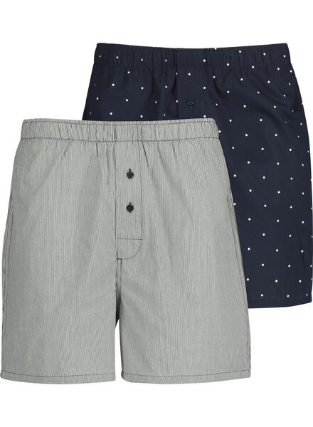 2-pak herenboxers geweven donkerblauw donkerblauw - 1000014426 - HEMA