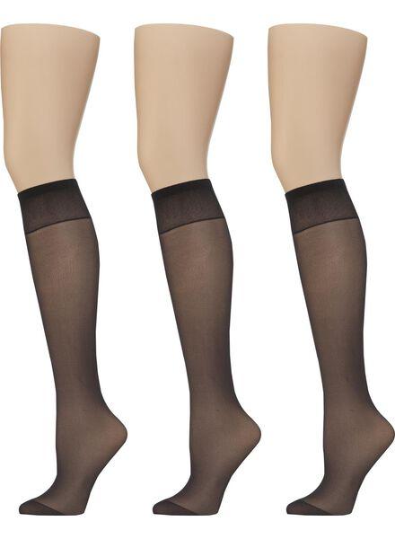 3-pak licht glanzende kniekousen 20 denier zwart one size - 4022531 - HEMA
