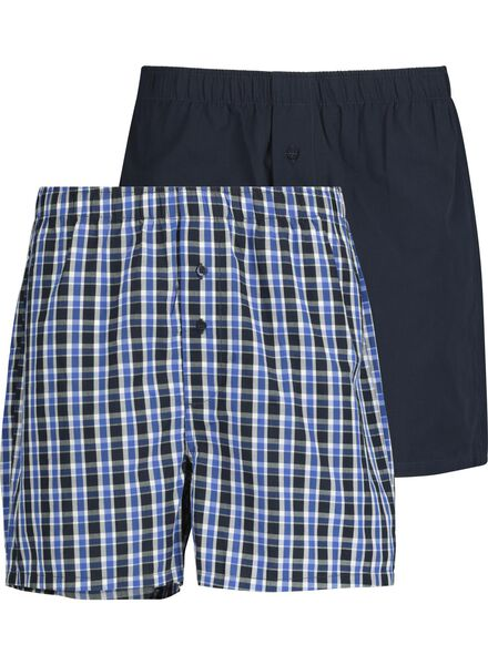 2-pak herenboxers geweven donkerblauw donkerblauw - 1000014425 - HEMA