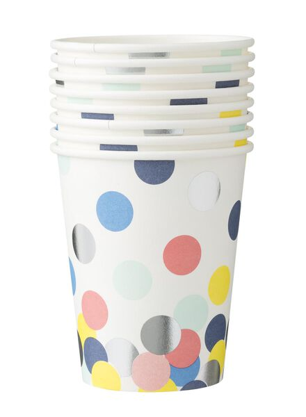 papieren bekertjes - 250 ml - confetti - 8 stuks - 14230065 - HEMA