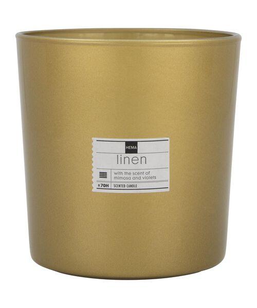 geurkaars in vaas Ø 13 cm - mimosa en violen - 13502417 - HEMA