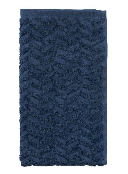 gastendoek zware kwaliteit  30 x 55 - zigzag - jeansblauw - 5200058 - HEMA