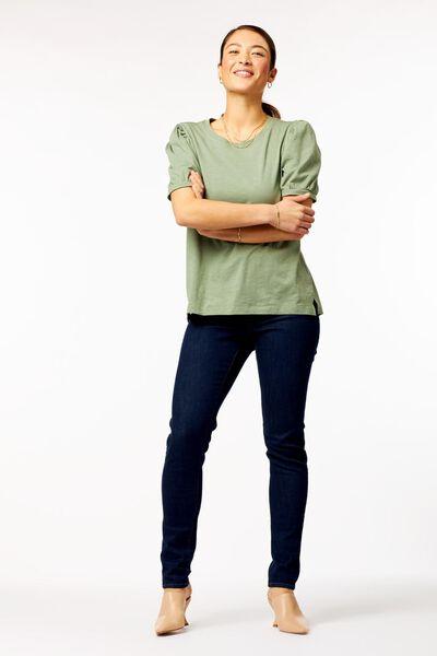 dames t-shirt pofmouw lichtgroen lichtgroen - 1000023718 - HEMA