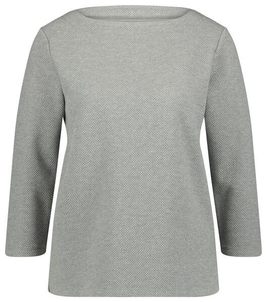 dames t-shirt structuur grijs grijs - 1000021713 - HEMA