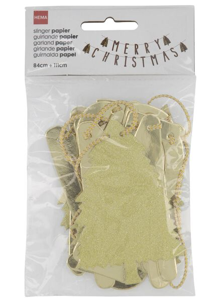 slinger papier 195 cm merry christmas goud - 25104755 - HEMA