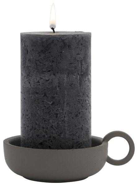 kandelaar Ø10x3 metaal mat grijsbruin - 13311055 - HEMA