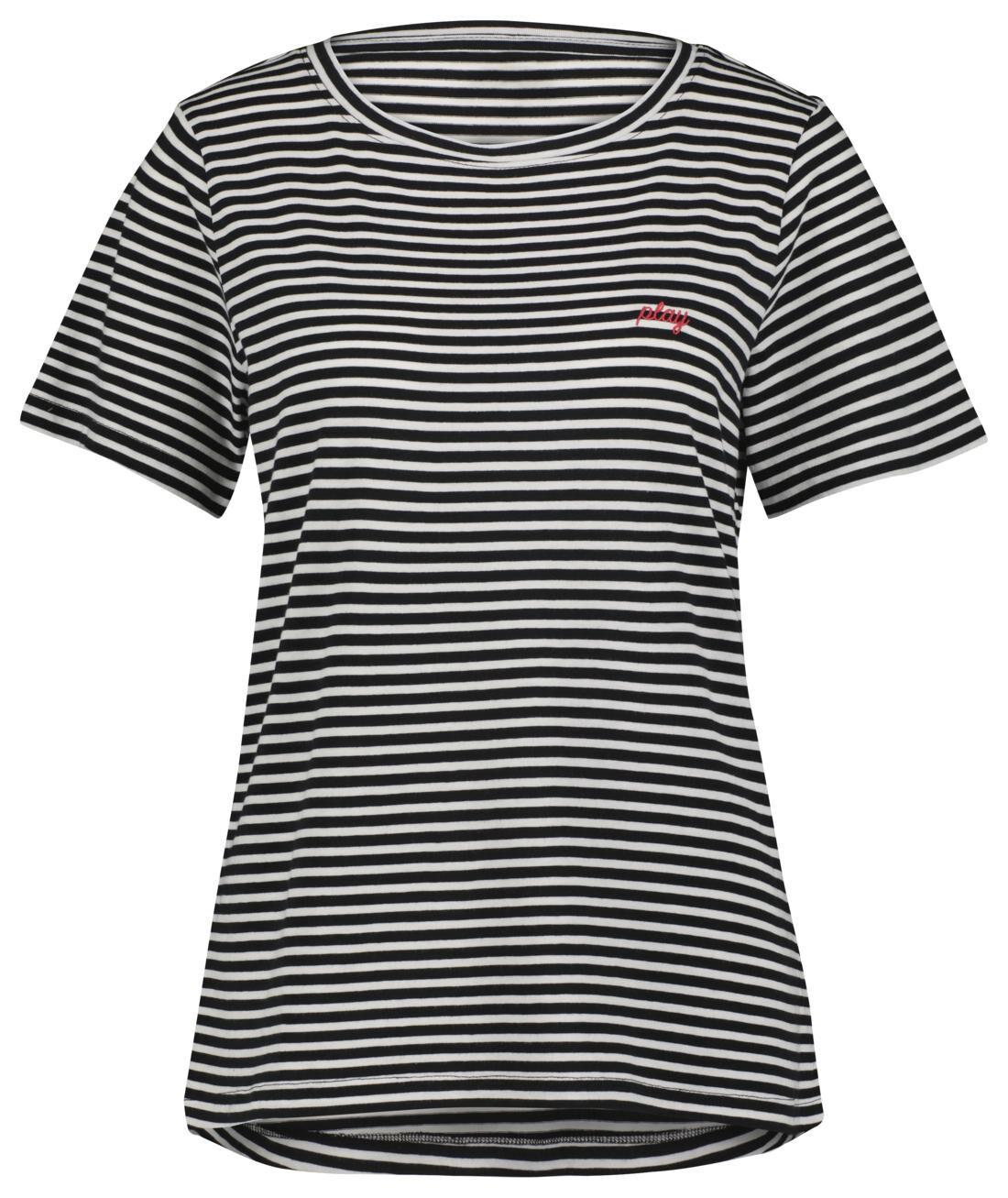 HEMA Dames T-shirt Play Zwart/wit (zwart/wit)