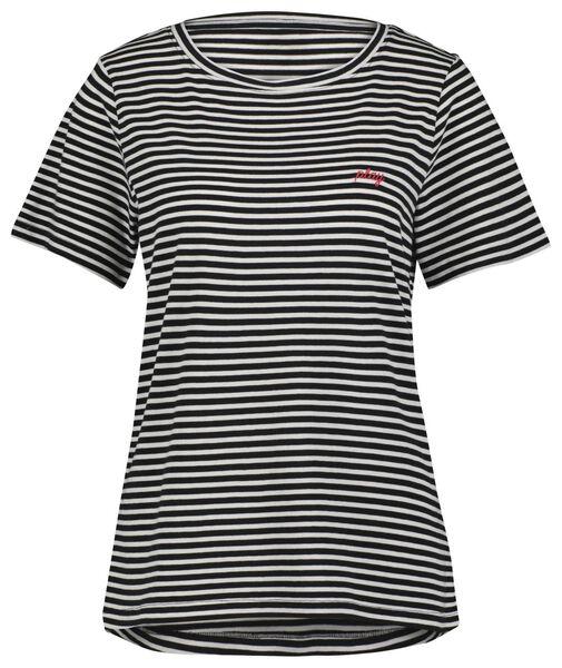 dames t-shirt play zwart/wit zwart/wit - 1000023983 - HEMA