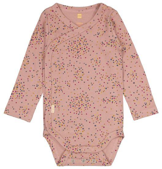 newborn overslagromper met bamboe rib roze roze - 1000025152 - HEMA