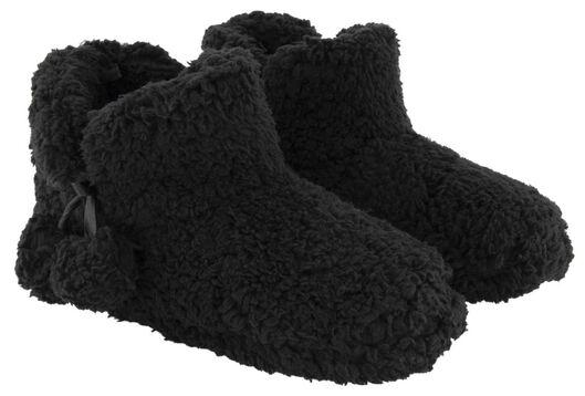 damessloffen teddy zwart zwart - 1000025111 - HEMA