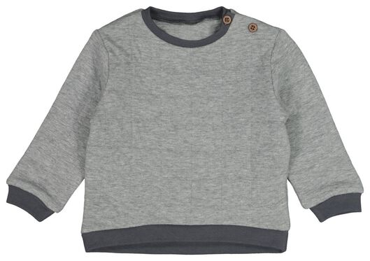 babysweater gevoerd grijsmelange 80 - 33132414 - HEMA