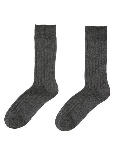 2-pak herensokken grijsmelange grijsmelange - 1000001408 - HEMA