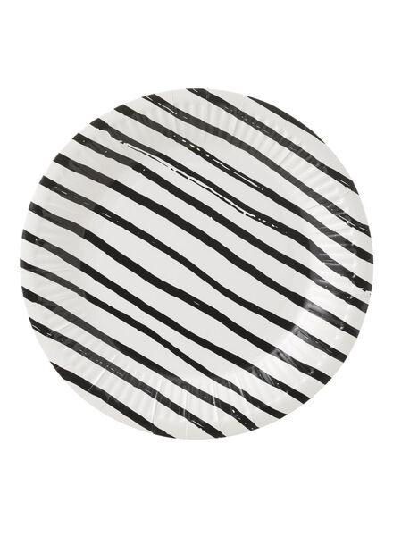 papieren bordjes - 18 cm - zwart/wit gestreept - 10 stuks - 14230043 - HEMA